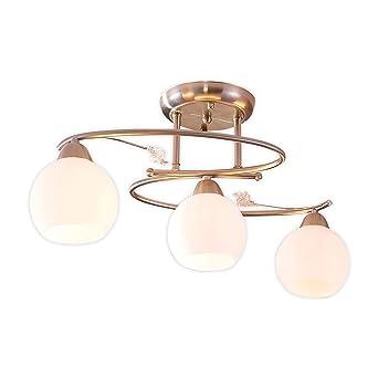 Nickel matt Decken Leuchte Glas Schirm weiss Lampe Wohn Ess Zimmer Beleuchtung