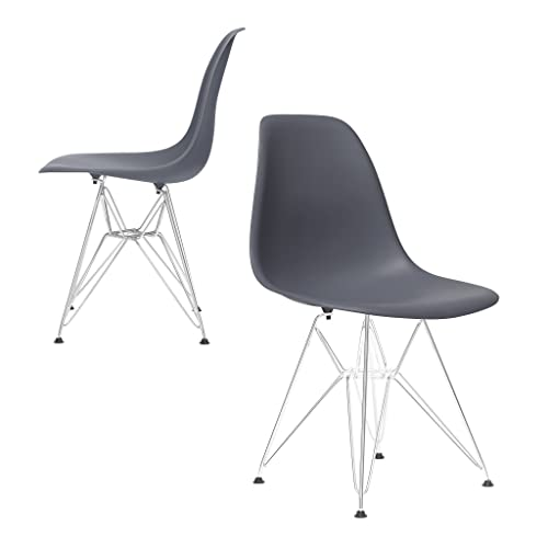 Set of 2 – Chelsea Eames DSR Eiffel Metal Base Molded Plastic Dining Chairs Grey