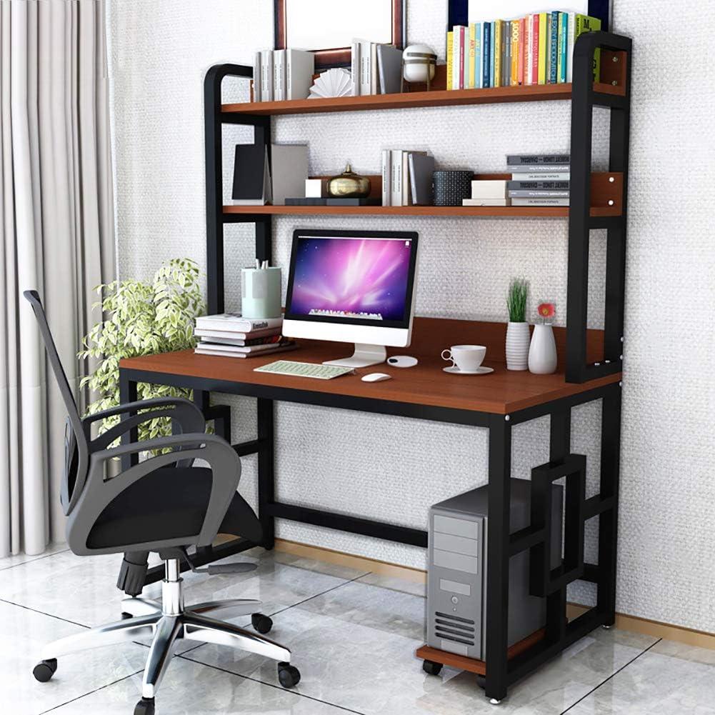 Desk Multipurpose Home Office Computer Desk Bookshelf, Durable Gaming Desk Spacious Writing Study Table Workstation-b 100x60cm/39.4x23.6inch