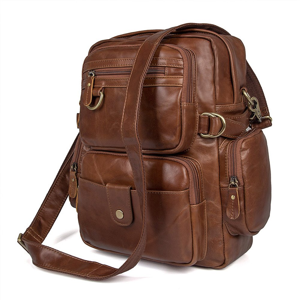 MuLier Sling Backpack Men Genuine Leather Bag Crossbody Shoulder Bag For Men by MuLier (Image #8)