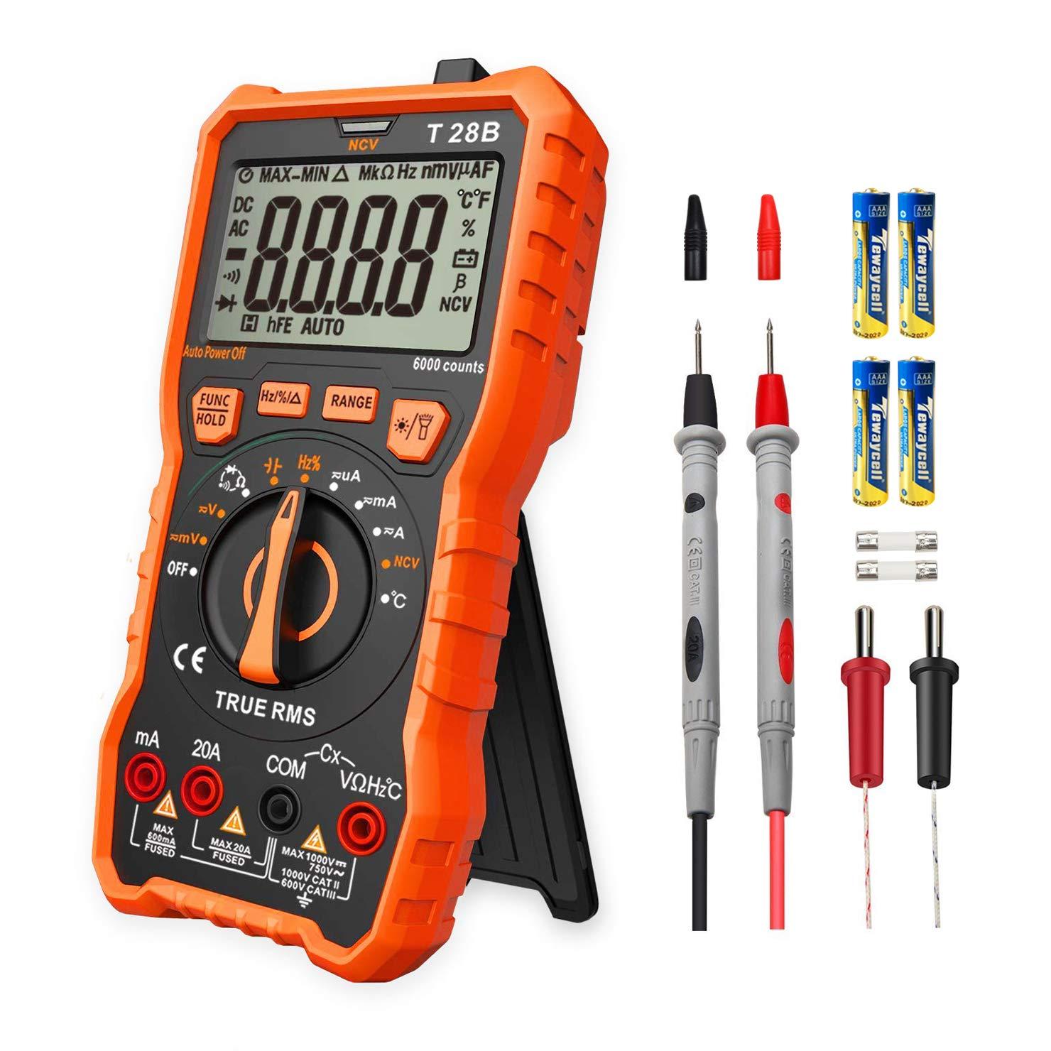 Multímetro Digital Profesional, LOMVUM T28B Automático Polimetro Digital 6000 Cuentas y 2000uF Tester Digital product