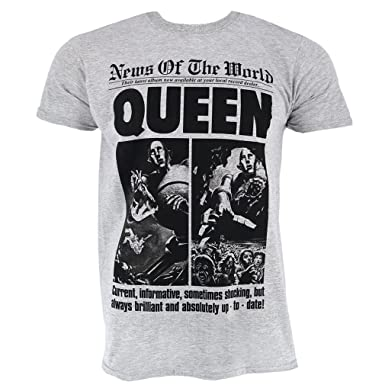 8ee107fbf97 Queen News of The World 40th Front Page Grey T-Shirt Official Licensed  Music  Amazon.co.uk  Clothing