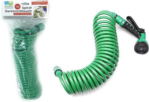 Alma Garden - Manguera Flexible para jardín (7, 5 m, con Cabezal pulverizador), Color Verde: Amazon.es: Jardín