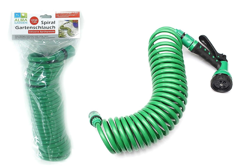 15 m lang mit Sprühpistole zum Bewässern Ihres Gartens Spiral-Gartenschlauch ca