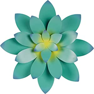 Adroiteet Large Metal Wall Decor, 13 IN Iron Succulent Flower Art Style Hanging for Indoor Outdoor Home Bedroom Office (Blue Green)