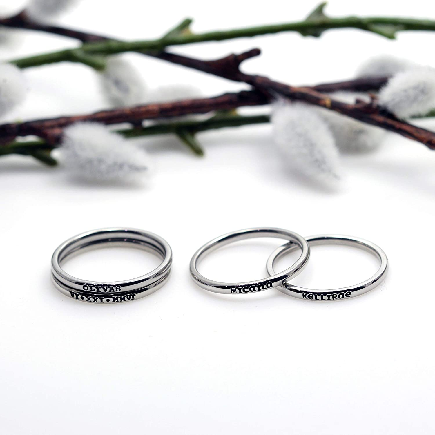Mama Bear SET of 2 Rings 3mm *Shiny Finish* Stackable Stainless Steel Custom Hand Stamped Ring