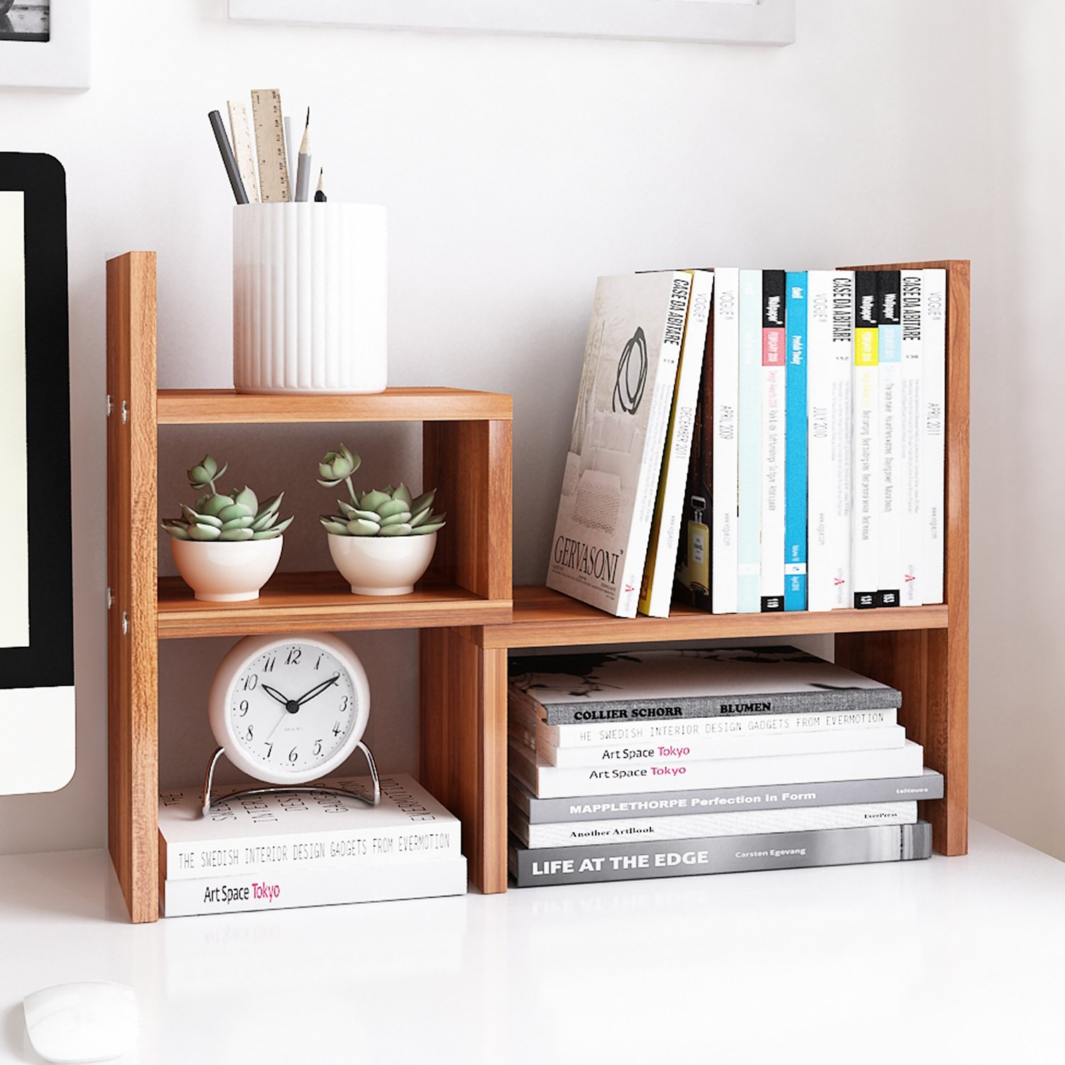 Jerry & Maggie - Desktop Organizer Office Storage Rack Adjustable Wood Display Shelf | Birthday Gifts - Toy - Home Decor | - Free Style Rotation Display - True Natural Stand Shelf (Natrual Wood Tone)