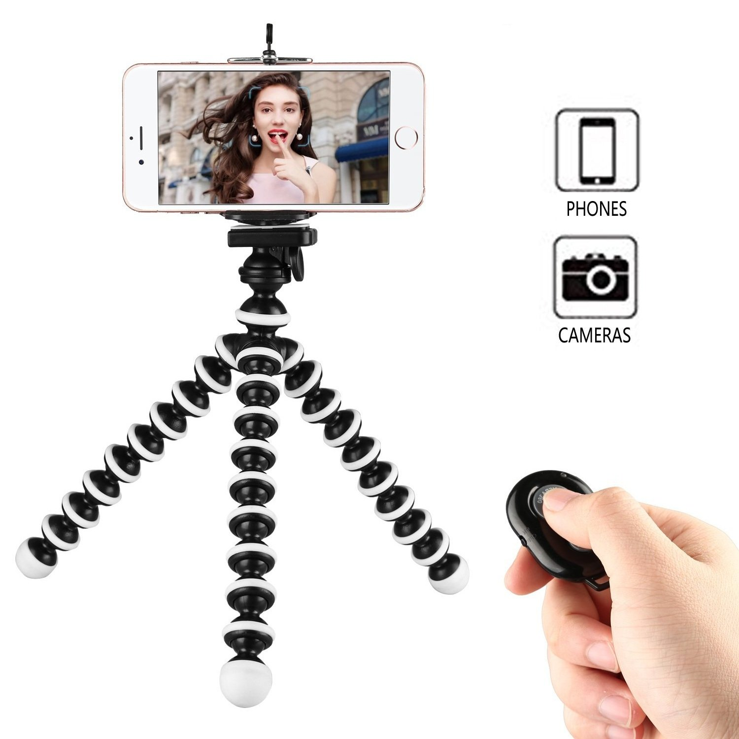 Phone Tripod, WAAO Octopus Style Portable and Adjustable Mini Webcam Tripod Stand Holder for iPhone & Android Phone Camera Sports Camera Gopro Logitech Webcam C920 C922 and more