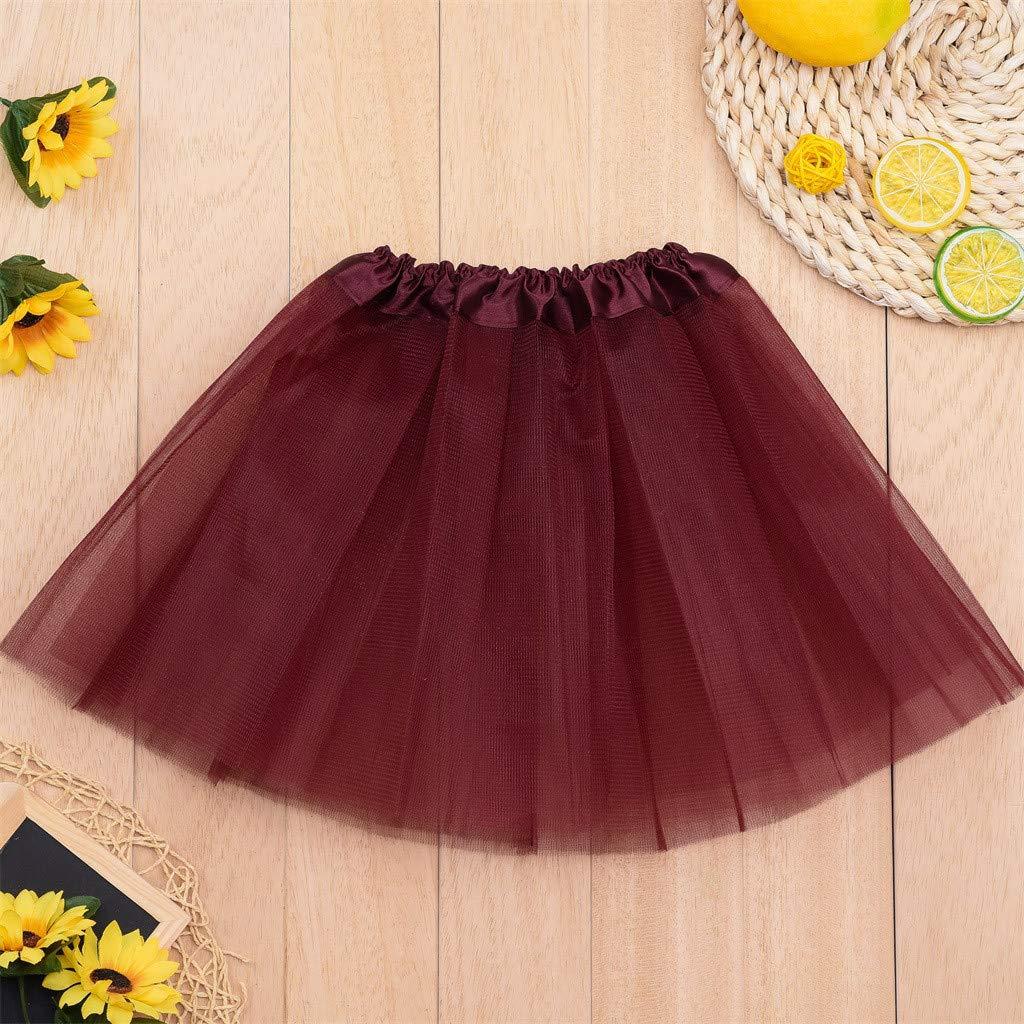 dumanfs Toddler Girls Tutu Skirt Kids Baby Solid Dance Elastic Pettiskirt Ballet Fancy Costume 2-8T