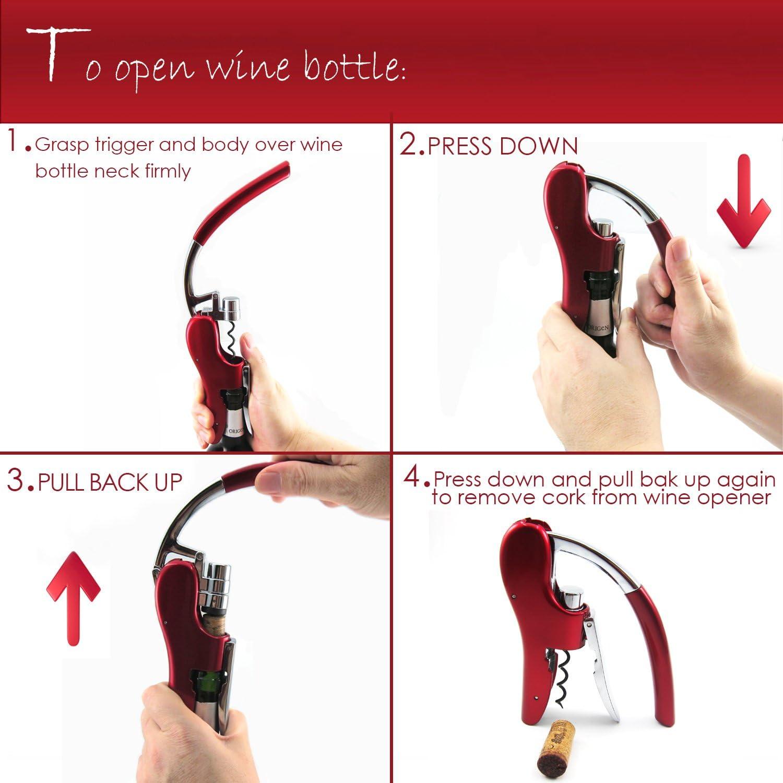 Octopus Premium Kaninchenheber BestUtensils Professioneller Wein/öffner aus Zinklegierung Korkenzieher mit integriertem Folienschneider Kellner/öffner rot