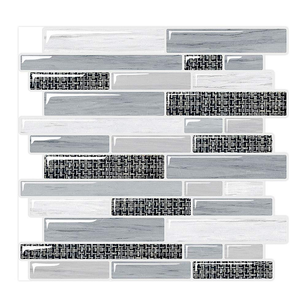 Yipscazo Peel and Stick Tile Backsplash for Kitchen in Houndstooth Gray (10 Tile)