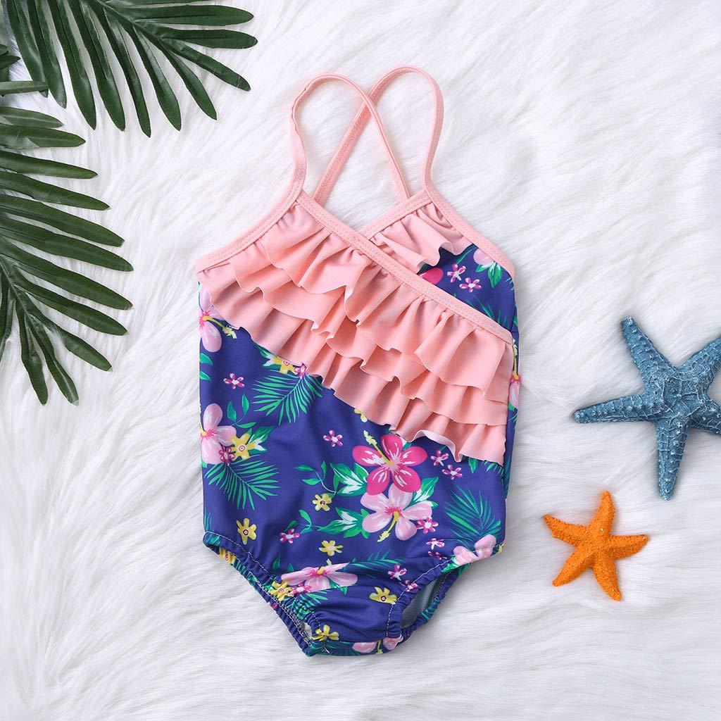 Girls Kids Ruffles Floral Print Bikini Sets Swimsuit Bathing Suit Swimming Costume Beachwear Outfits for Girls Wanshop  Swimwear for Baby Girls