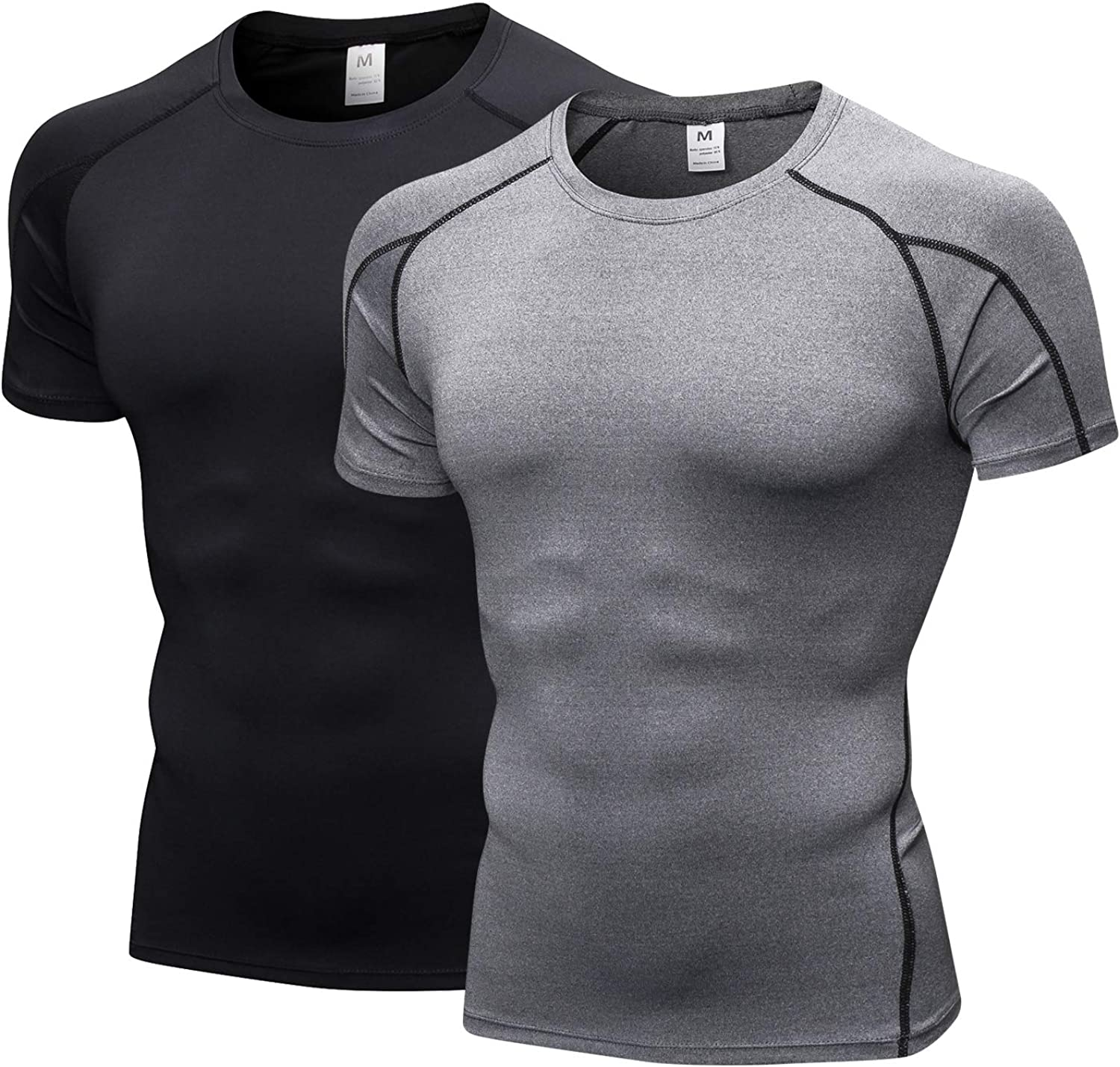 Men's Short Sleeve Compression Shirt Active Running Gym Workout Short Sleeve Quick Dry(2 Pack)