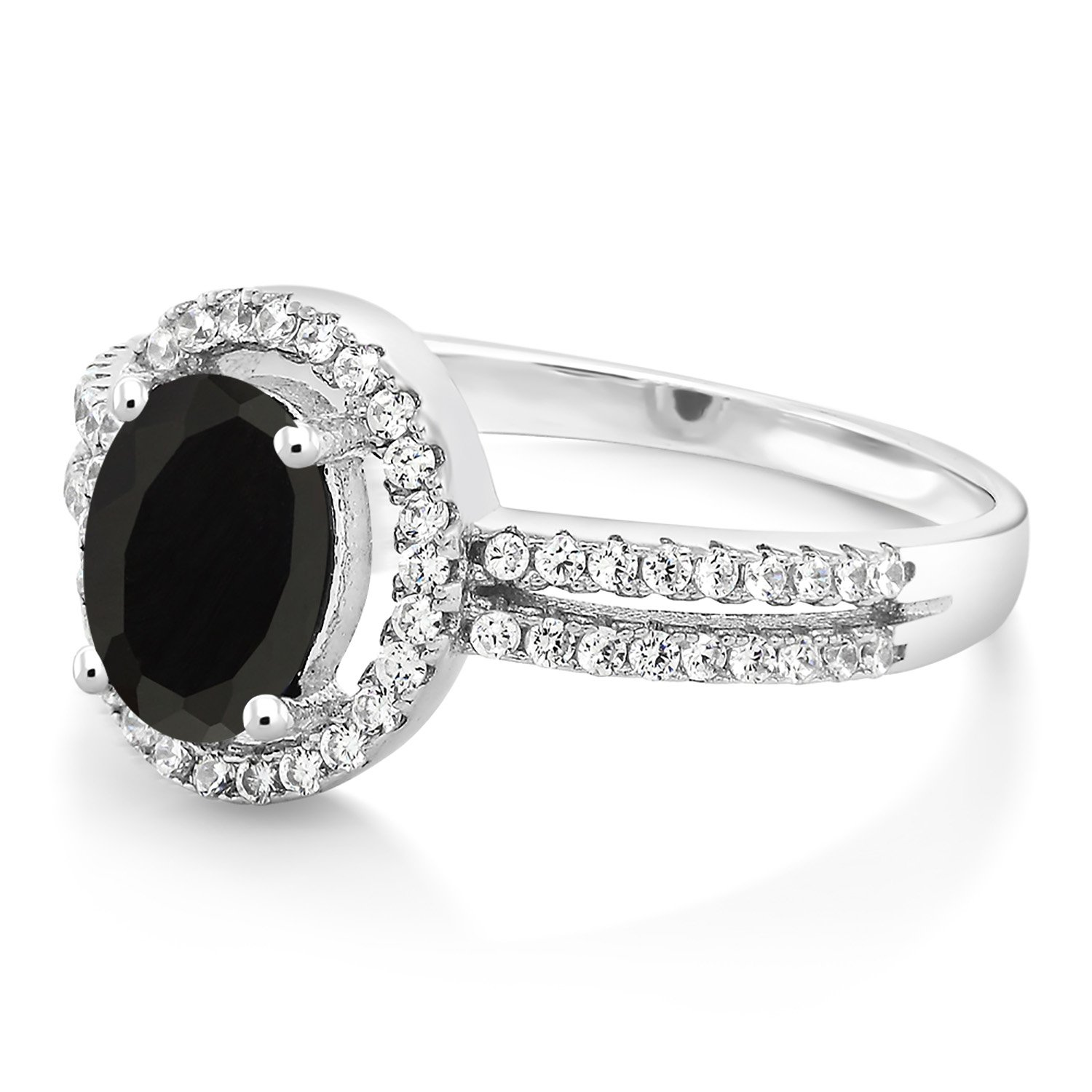Gem Stone King 925 Sterling Silver Black Onyx Womens Ring 1.85 Ct Oval 8X6MM Gemstone Birthstone Available 5,6,7,8,9
