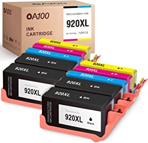 OA100 Compatible Ink Cartridges Replacement for HP 920XL 920 XL for OfficeJet 6500A 6000 7500A 7000 6500 (Black Cyan Magenta Yellow, 10-Pack)