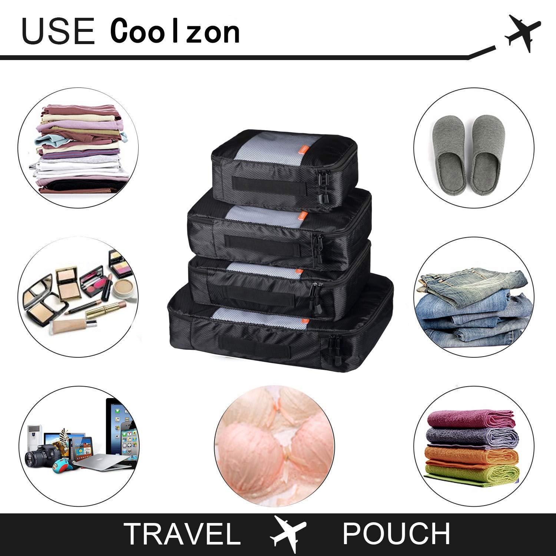 Coolzon/® Packing Cubes pour Voyage Organisateur de Sac Compression de Stockage Bag Pochette Voyage Sac Organisateur Iot de 4 Packs Noir