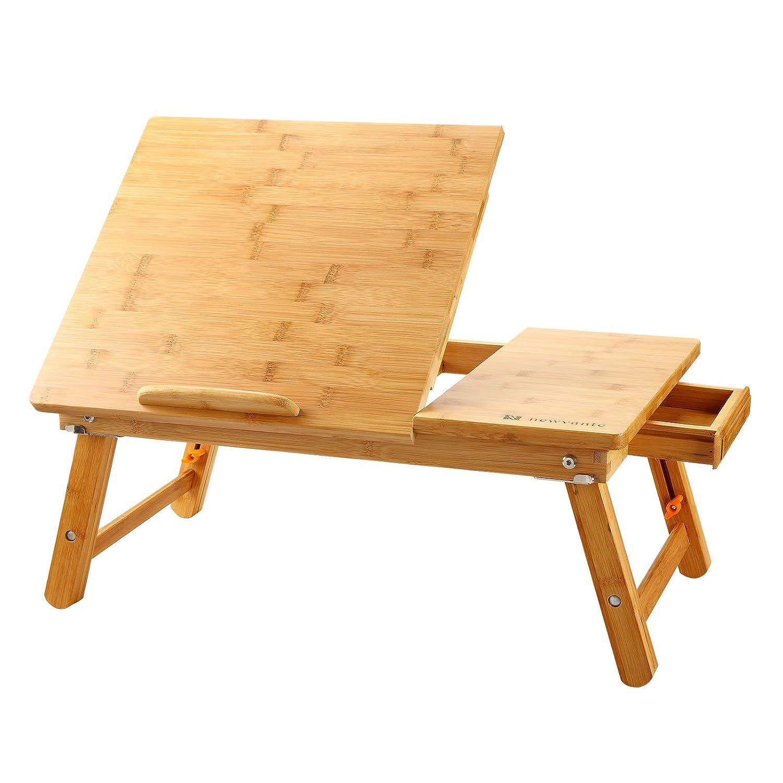 ノートパソコンデスクBeaucoup竹調節可能ラップトップテーブル100 %竹の滑らかなデスクトップ折りたたみ式ServingベッドトレイW '引き出し  BWZ-ZS1 B01MAUGLDO