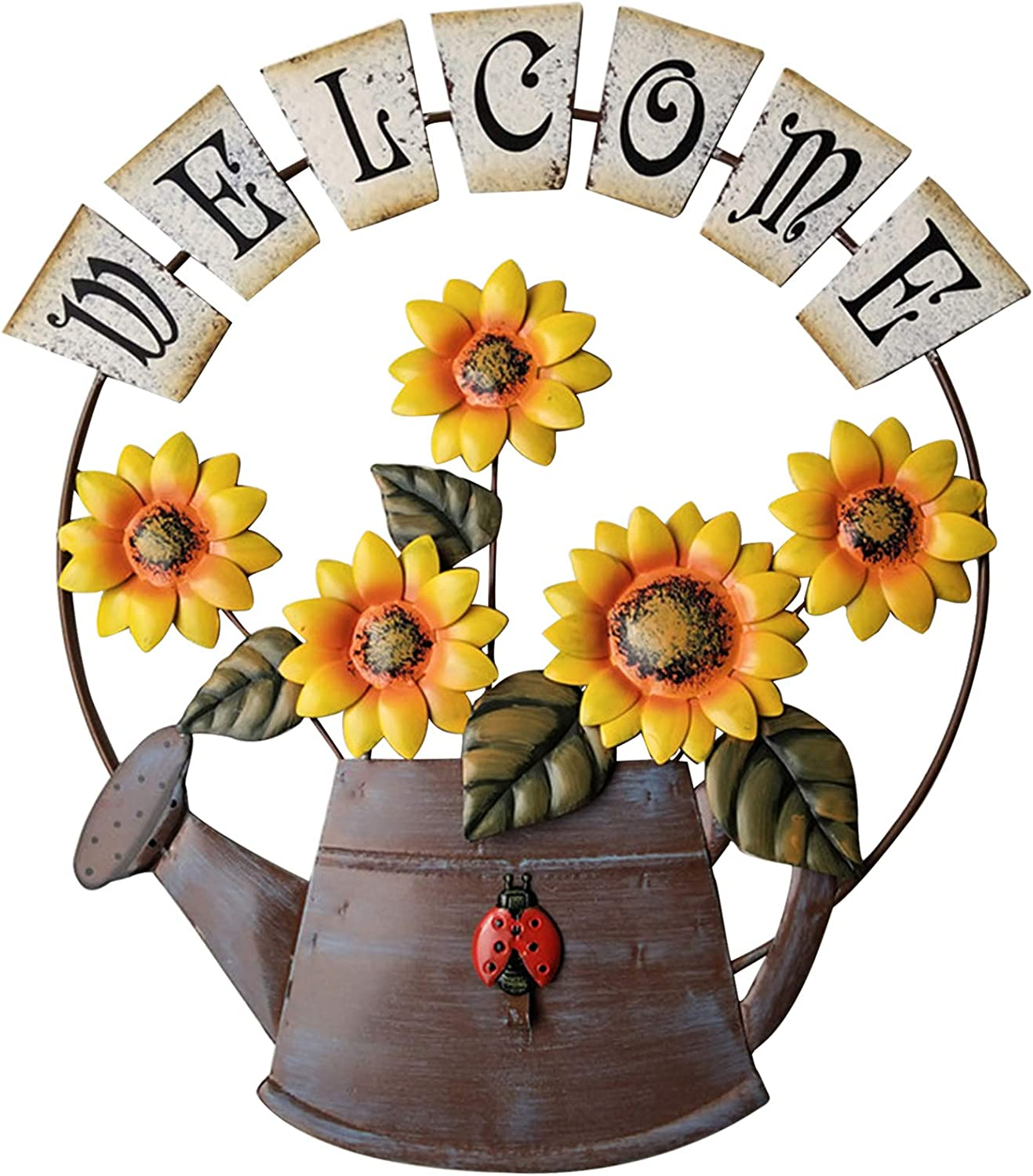 TISOSO Rustic Sunflower Welcome Sign Watering Can Design Garden Themed Welcome Wall Plaque Farmhouse Door Hanging Sign for Outdoor Home Bathroom Wall Art Yard Entryway Decor Decorative 15.5X14Inch
