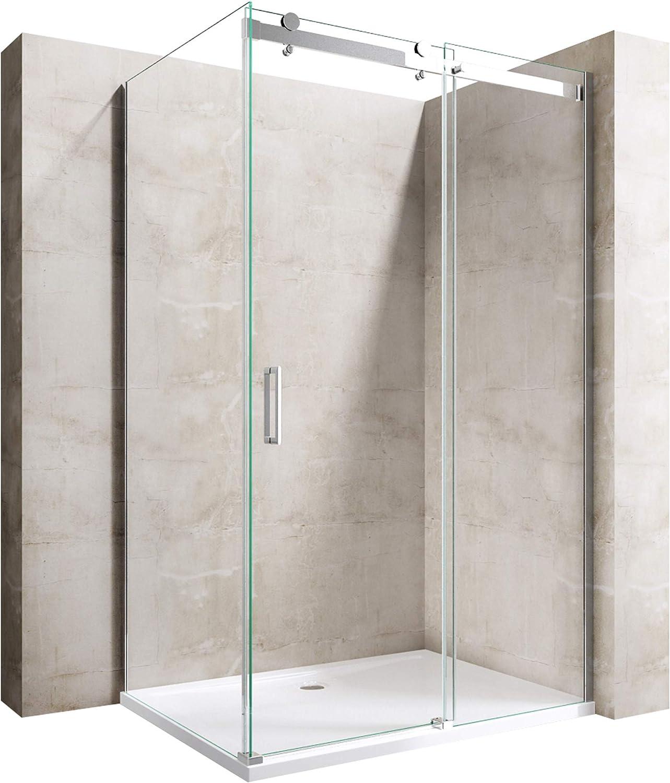 Cabine de douche 80x140 paroi de douche avec porte coulissante Sogood Ravenna17 80x140x195cm verre ESG transparent 8mm avec revetement NANO