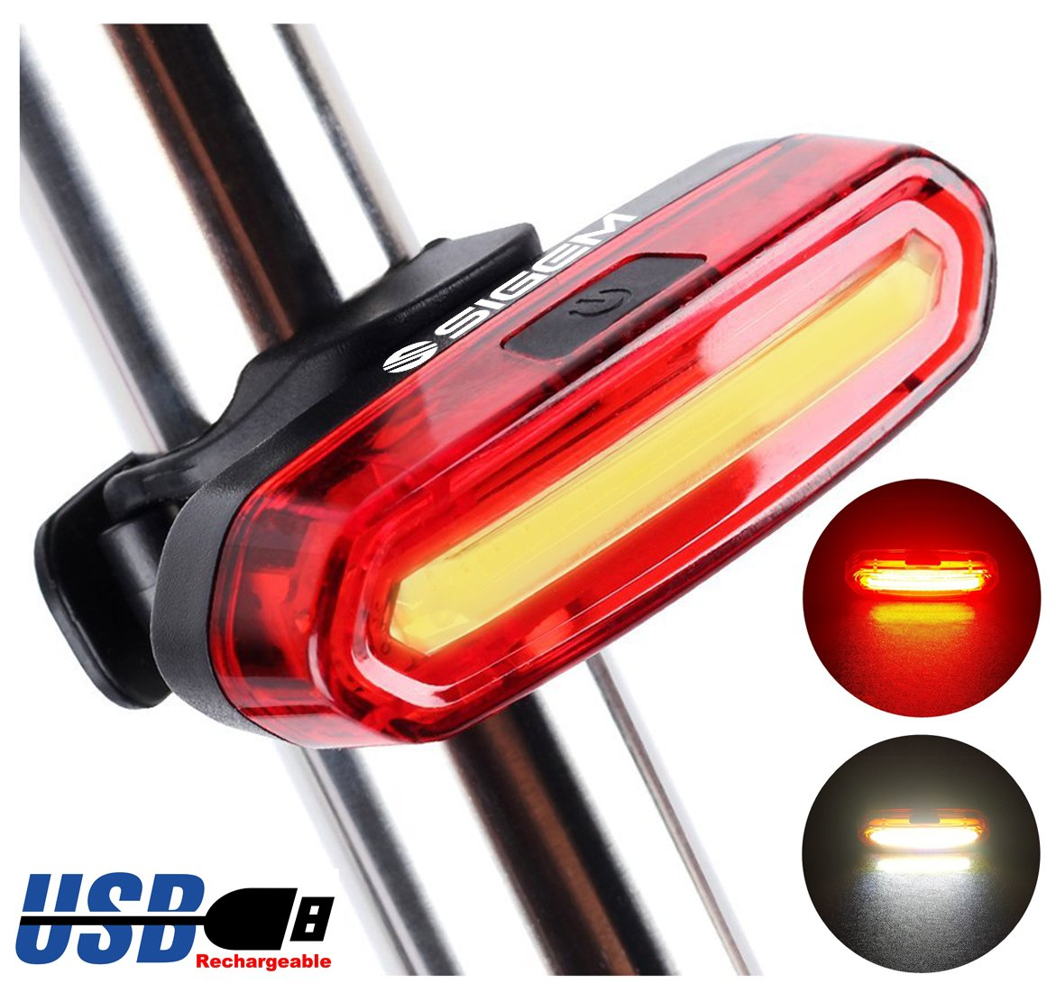SIGEM Bike Tail Light, Headlight, Ultra Bright & USB Rechargeable, Bicycle Flashing Rear taillight, LED Safety Warning Strobe Head Light, Also for Helmet and Backpack 120 Lumens