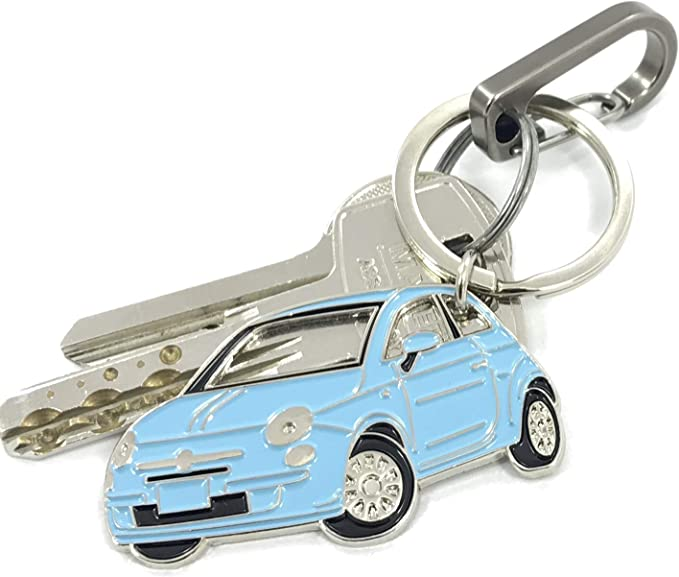 Fiat 500 Keychain Metal Enamel car accessorie Key fob Keyring Yellow