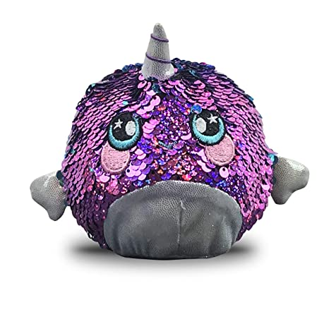 Beverly Hills Teddy Bear Squeezamals, Shelby Sparkle Narwhal, Super Squishy Foamed Stuffed Animals With Two Sided Sequins (Amazon Exclusive) by Beverly Hills Teddy Bear