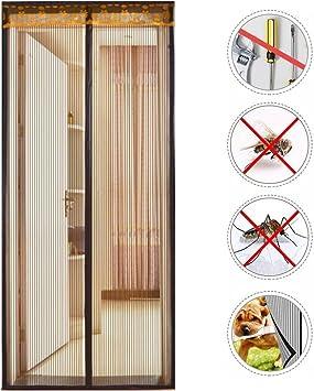 Nclon Cortina mosquitera magnética para Puertas Malla Super Fina,Cierre automático Mosquitera Puerta magnetica Velcro Adhesiva Punchlibre-Marrón 95x200cm(37x78inch): Amazon.es: Hogar
