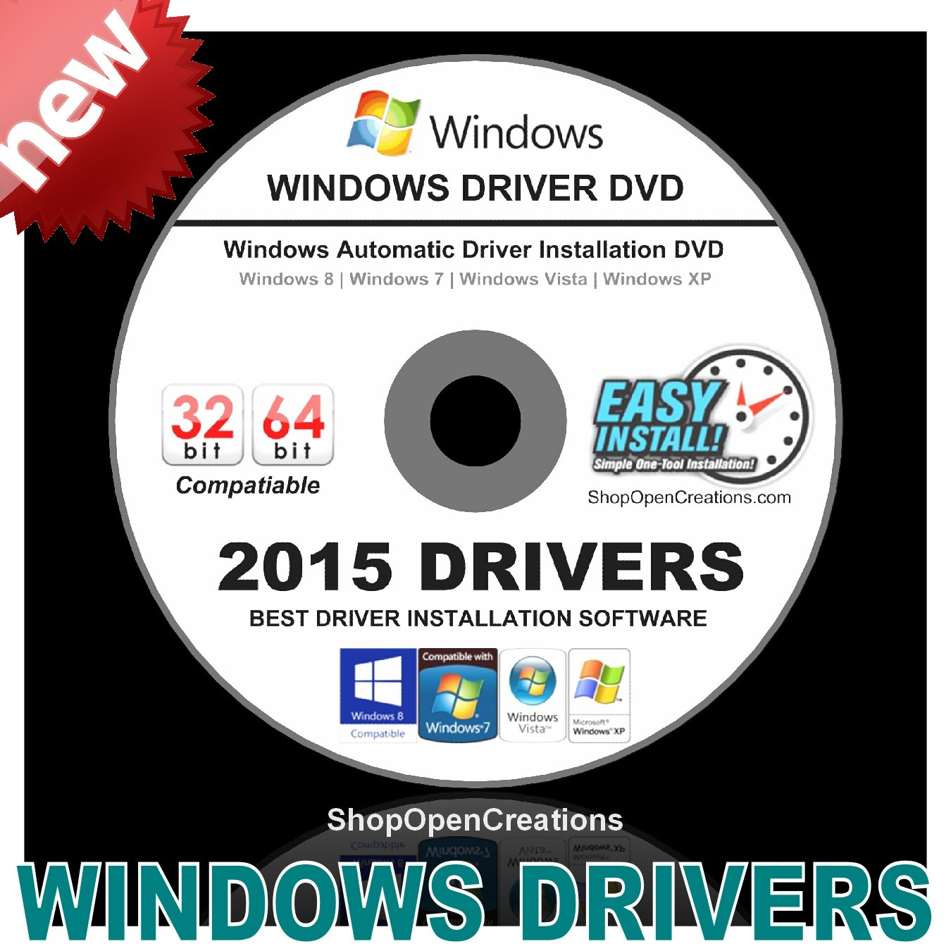 2015 Universal Windows Drivers DVD For Microsoft Windows XP, Vista, 7, 8 and 8.1 - Easy Automatic Install - Install Any Missing Driver or Update Existing ...