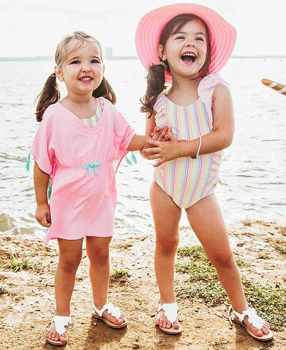 RuffleButts Girls Woven Kaftan Pom Pom Poncho Swimsuit Cover-Up