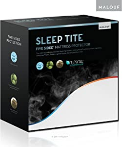 SLEEP TITE FIVE-5IDED Cooling Mattress Protector With Omniphase and Tencel - 100% Waterproof and Hypoallergenic- 15-Year Warranty - Cal King