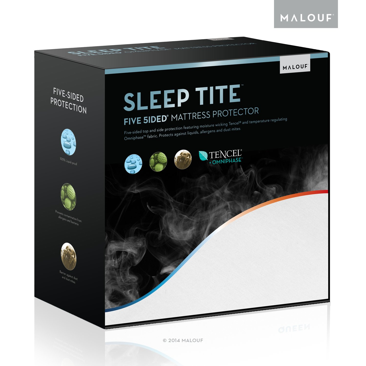SLEEP TITE FIVE-5IDED Hypoallergenic Mattress Protector With OMNIPHASE and TENCEL - 100% Waterproof - Regulates Temperature - 15-Year Warranty - Vinyl Free - Queen by MALOUF