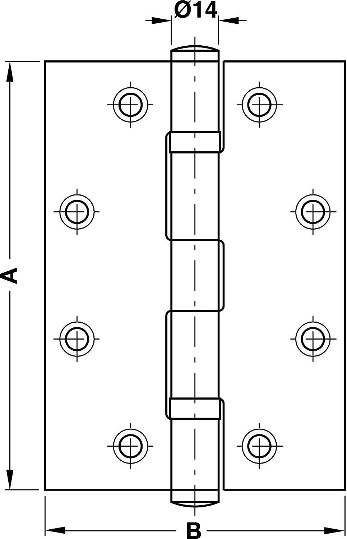 76 x 76 mm Gedotec T/ürband Scharnier Aufschraubband Edelstahl matt rostfrei kugelgelagert mit Edelstahlschrauben Tragkraft 80 kg 1 St/ück Lappendicke: 3 mm