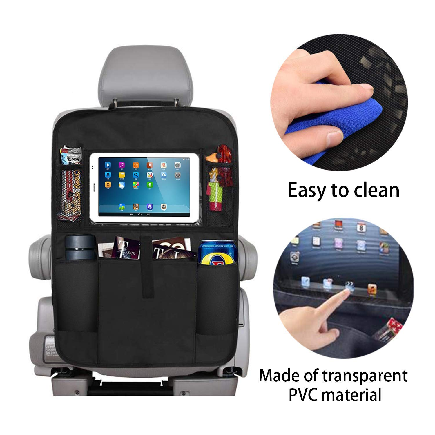 XBRN Car Organizer Back Seat,Car Back Seat Protector,Waterproof Kick Mat,Clear Touch Screen Tablet Holder for Kid//Travel with Multi Pocket,Car Seat Organizer,Car Storage Organizer with 2 Pack Black
