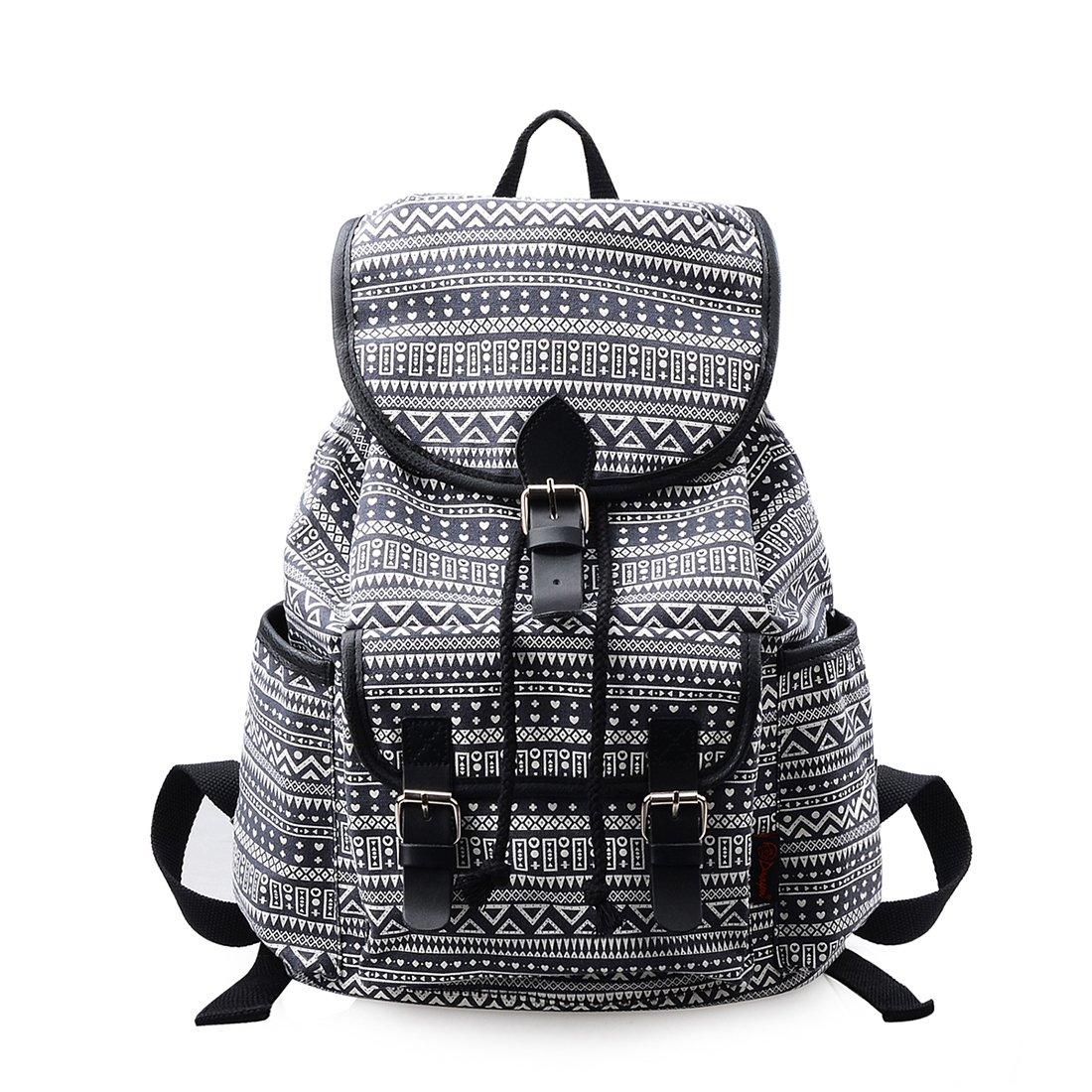 Lt Tribe Womens Canvas Backpack Shoulder Bag Travel College Daypack Black Geometry G00265