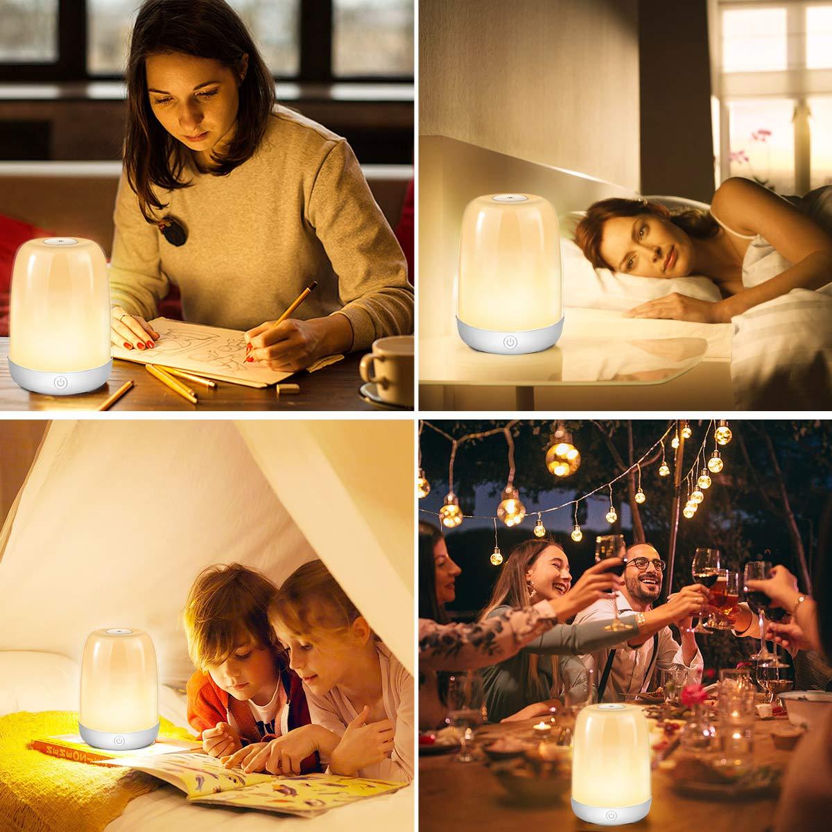 Stimmungslicht Lesen Ber/ührungssensor Dimmbare Nachtlicht LED Nachtlampe Tischlampe Nachttischlampe 3 Helligkeitsstufen/&5 Farbwechsel USB Aufladbar Tragbar f/ür Schlafzimmer Stillen B/üro