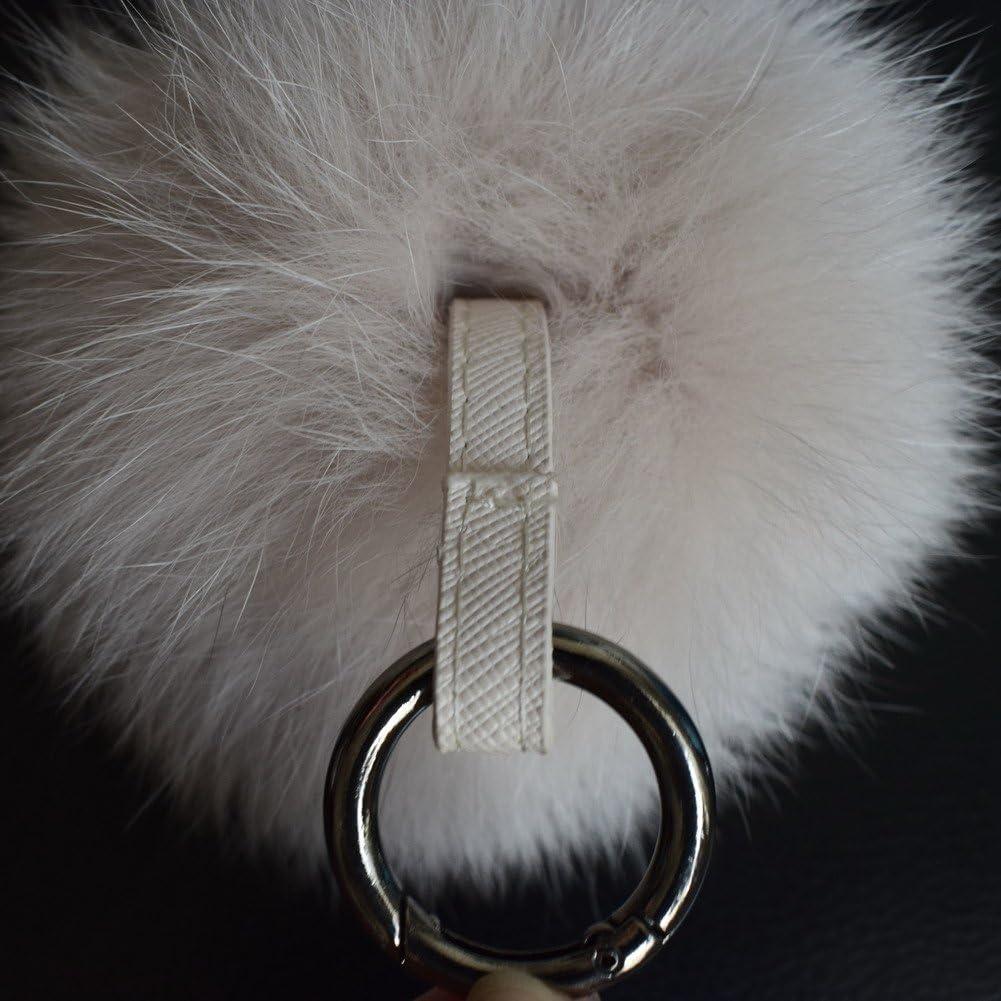 Mfurs Fox Fur Ball Pom Pom Keychain Womens Bag Purse Charms with Golden Key Chain
