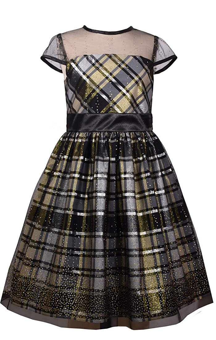 Kids 1950s Clothing & Costumes: Girls, Boys, Toddlers Bonnie Jean Big Girls 7-16 Illusion Neckline Black Gold Plaid Holiday Dress $49.99 AT vintagedancer.com