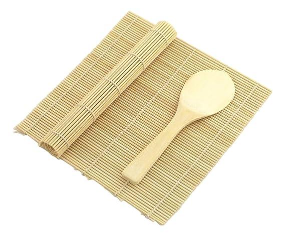 JapanBargain 3677 Sushi Mat Rice Paddle 2Mats+1Paddle Yellow