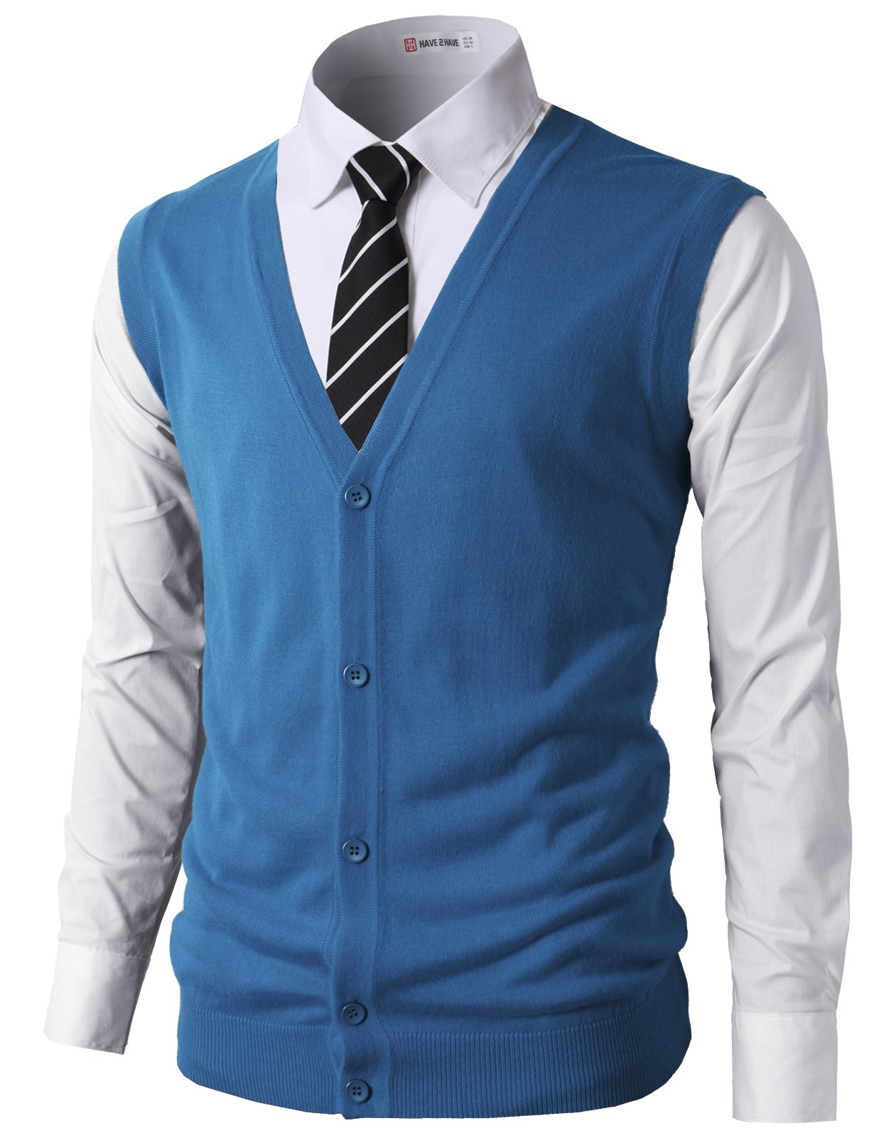 H2H Men Fashion Slim Fit Knitted V-Neck Button-Down Vests Of Various Colors Steelblue US L/Asia XL (CMOV038)