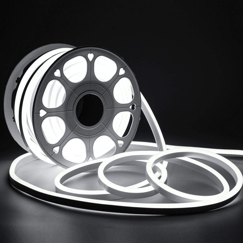 Shine Decor 82FT/25M LED Neon Rope Lights, 6500K Cool White AC 110V-120V Neon Strip Lights, 8x16mm Cuttable Waterproof SMD2835 120LEDs/M Indoor Outdoor Light Strips, DIY Ambiance Lighting Decoration