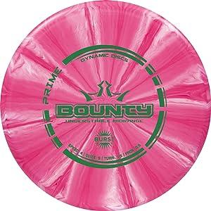 Dynamic Discs Prime Burst Bounty Disc Golf Midrange | 170g Plus | Beginner Friendly Frisbee Golf Midrange | Stamp Color and Burst Pattern Will Vary