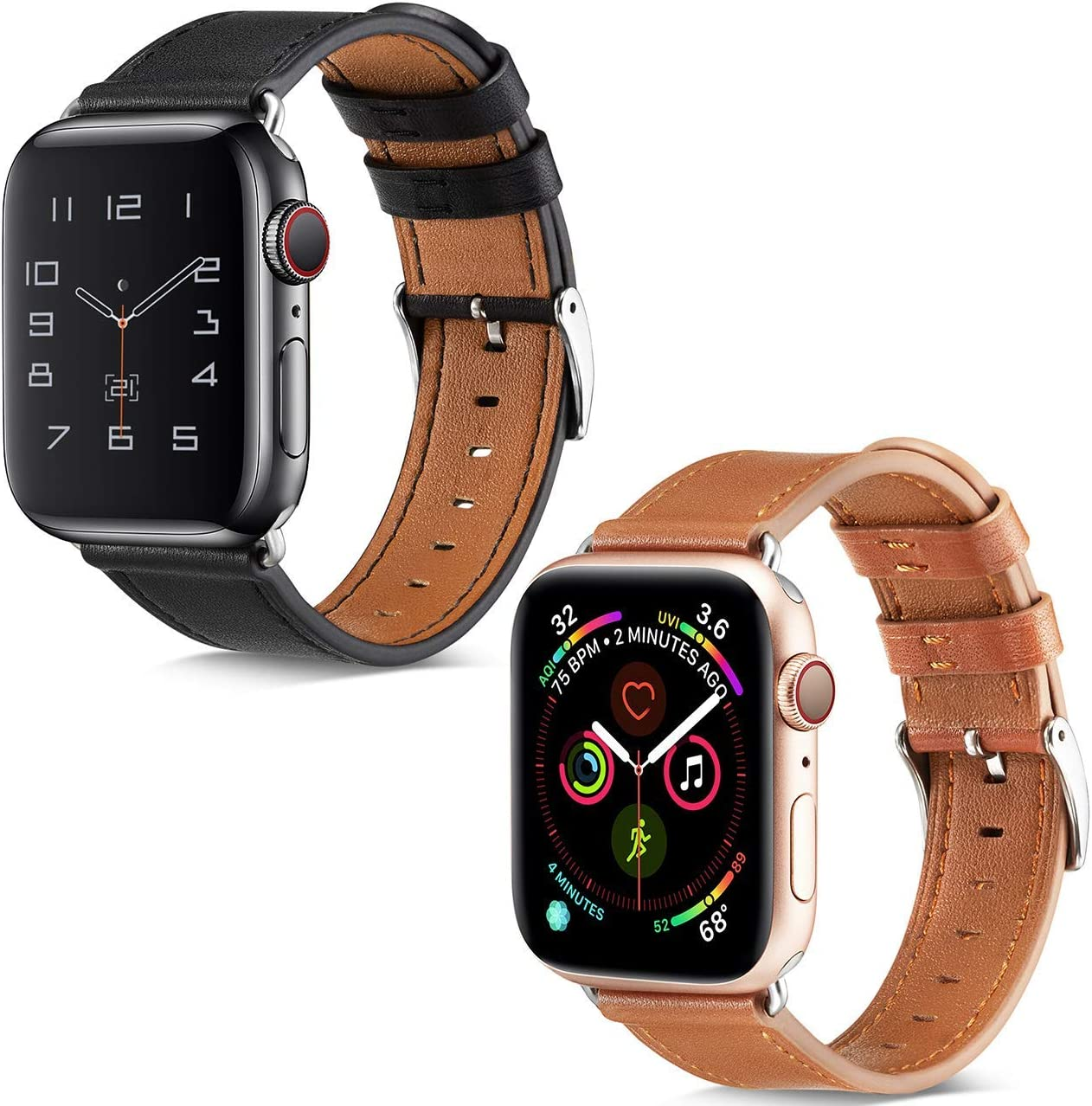 BELONGME Compatible with Apple Watch Band 44mm 42mm Black & Compatible with Apple Watch Band 44mm 42mm Brown