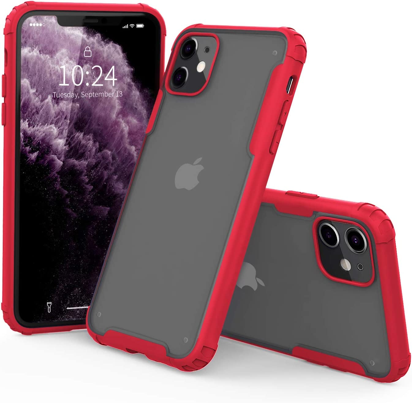 """I STRIVE Heavy Duty Military Grade iPhone 11 Case -Matte Translucent - Phone Armor - Shock/Shatterproof - Slim - Hybrid Materials - Wireless Charging - Compatible with iPhone 11 6.1"""" (Red)"""