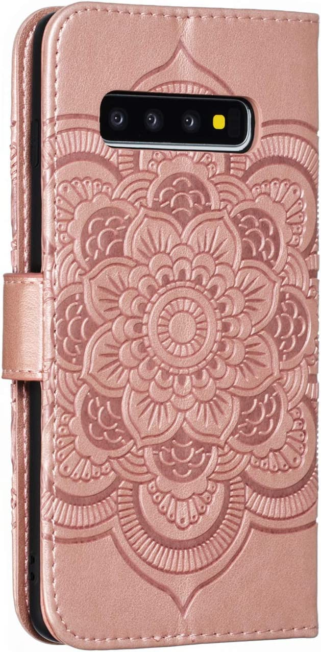 HMTECH Galaxy S10 Plus Case,For Samsung Galaxy S10 Plus Cover Embossed Totem Mandala PU Leather Flip Notebook Wallet Case Magnetic Stand Card Slot Case for Samsung Galaxy S10 Plus,LD Mandala Red