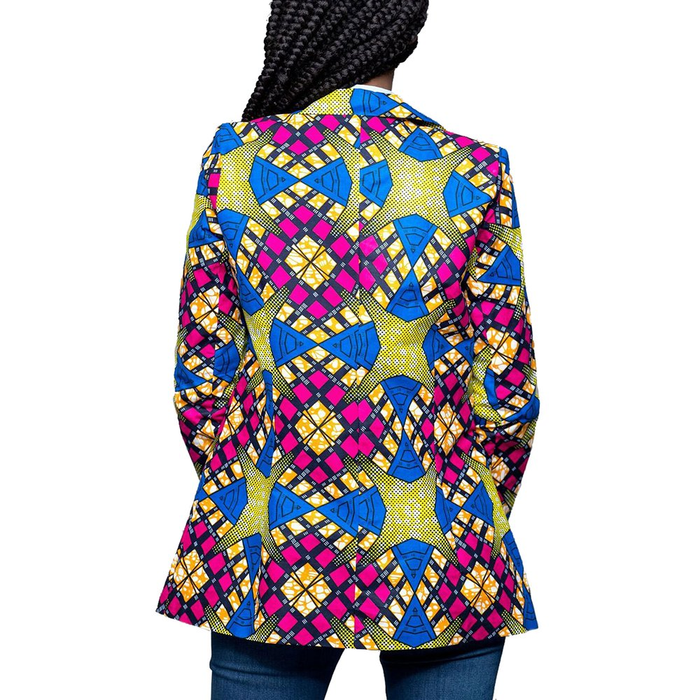 Lrud Women's Casual Long Sleeve Dashiki African Floral Print Blazer Jacket Coat Suits Blue S by Lrud (Image #2)
