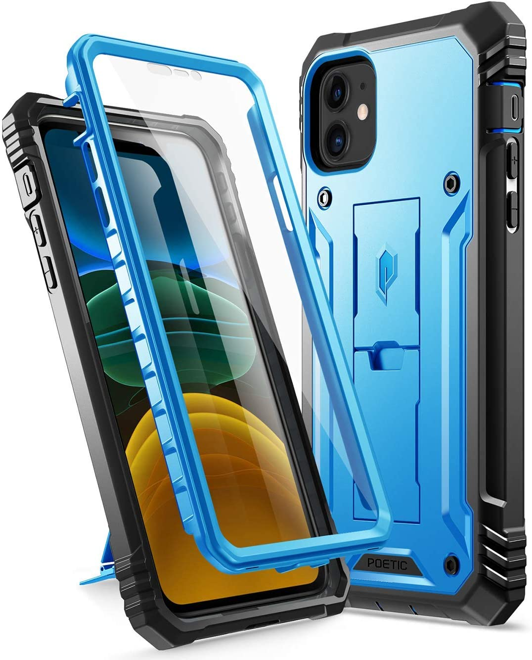 iPhone 11 Rugged Case with Kickstand, Poetic Full-Body Dual-Layer Shockproof Protective Cover, Built-in-Screen Protector, Revolution Series, for Apple iPhone 11 (2019) 6.1 Inch, Blue