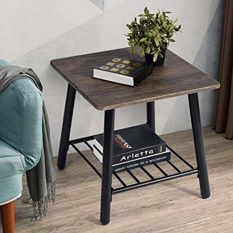 Amazon.com: FurnitureR - Mesa auxiliar con estante de ...