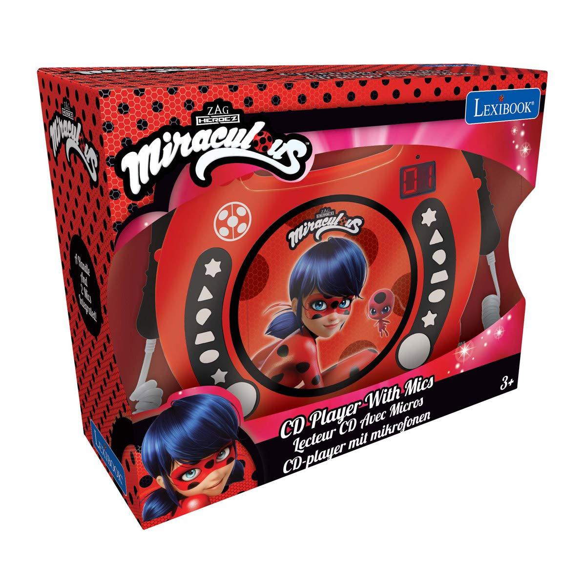 LEXiBOOK Miraculous Ladybug Radio CD, Programming Function, Headphones Jack, for Kids, with Power Supply or Batteries, Red/Black, RCDK100MI by LEXiBOOK (Image #6)