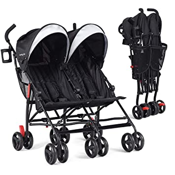 Infans Double Stroller Lightweight Foldable Travel Twin Umbrella Stroller With 5 Point Harness Cup