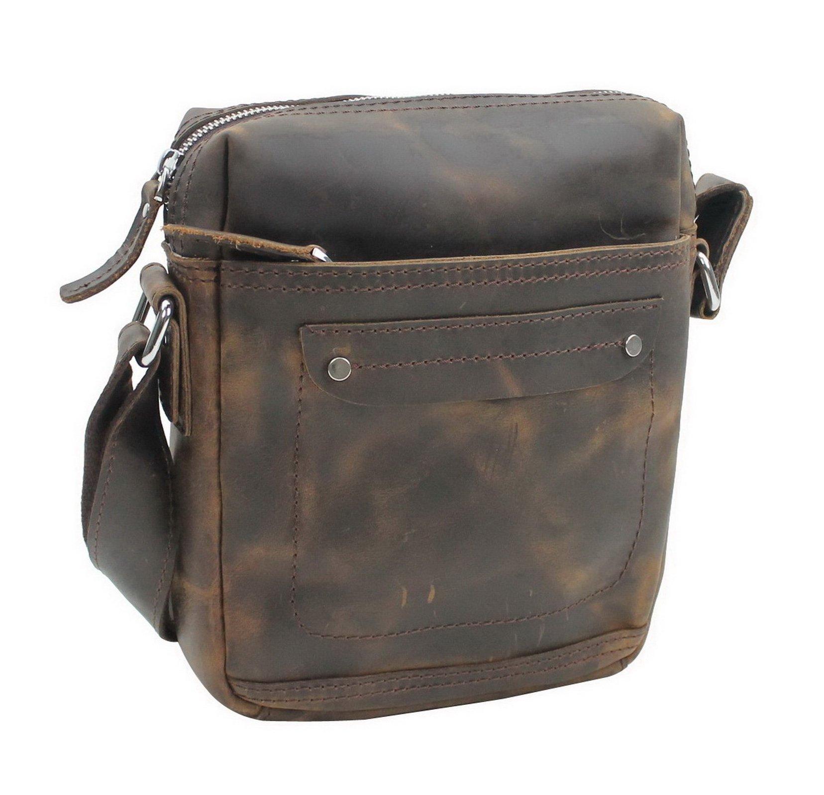 Vagabond Traveler Full Grain Leather Shoulder Bag L76. Dark Brown by Vagabond Traveler